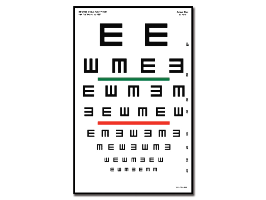 Tumbling E DIAGRAMA optometric - 6 m - 23x35.5 cm