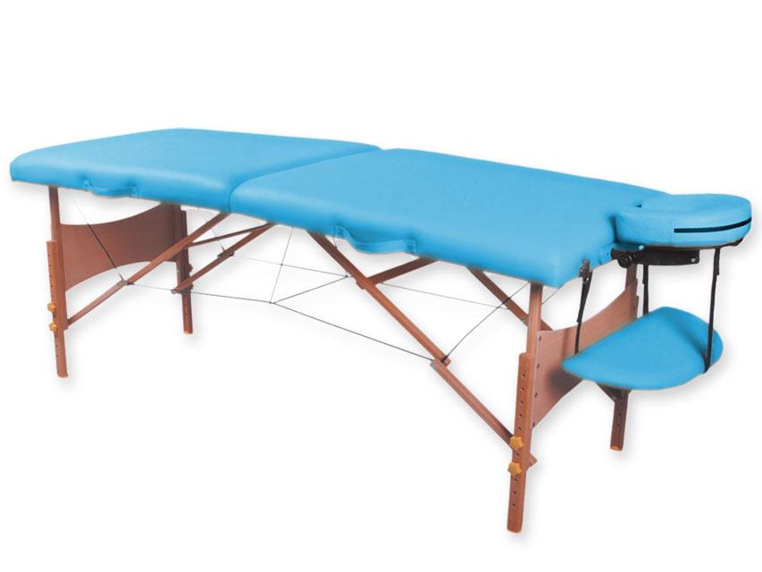 Masa de masaj cu 2 sectiuni, lemn - turcoaz