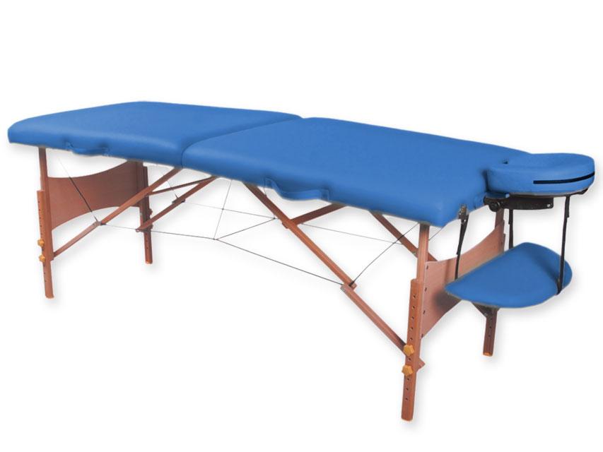 Masa de masaj cu 2 sectiuni, lemn - albastru