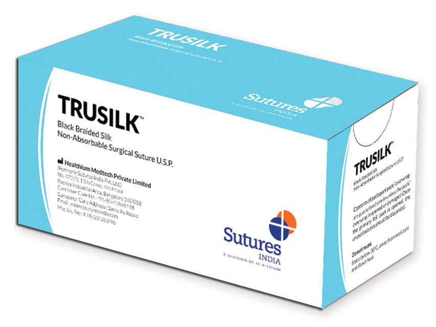 TRULON - nailon de matase neabsorbabil sutură  multifilament2/0 cerc 1/2 ac 22 mm - 45 cm - negru