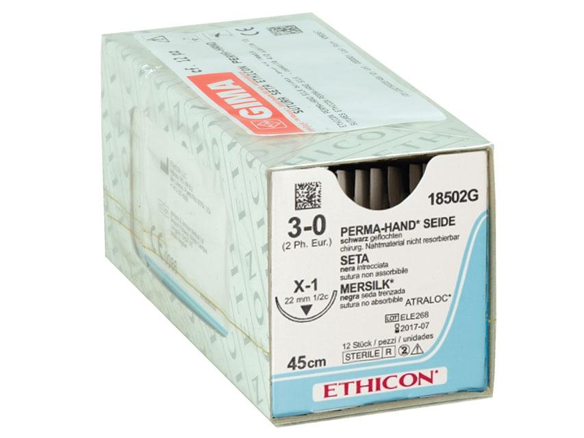 ETHICON PERMA-HAND SILK Fir de sutura - calibru 3/0 ac 22 mm - împletite