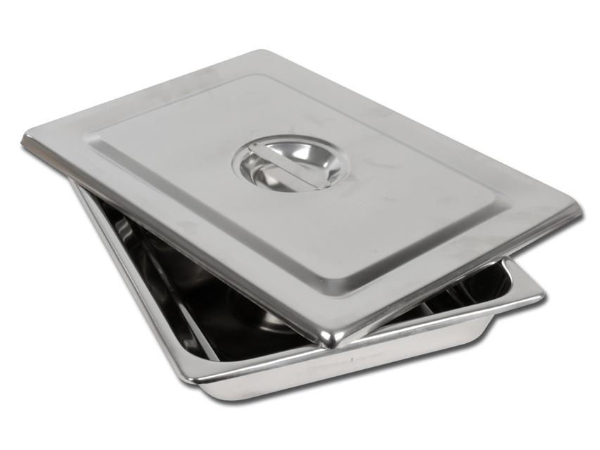 Tava intrumentar  cu capac  , otel inoxidabil - 355x254X50 mm