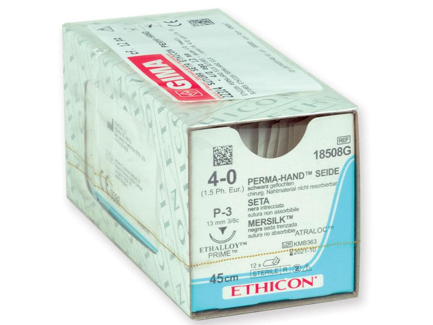 ETHICON PERMA-HAND SILK Fir de sutura - calibru 4/0 ac 13 mm - împletite