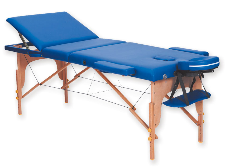 Masa de masaj cu 3 sectiuni, lemn - albastru