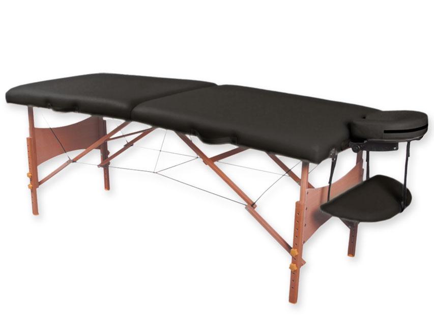 Masa de masaj cu 2 sectiuni, lemn - negru