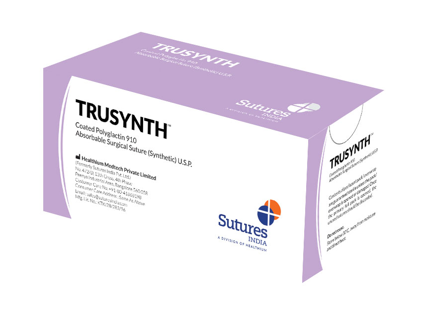 TRUSYNTH- Fir de sutură absorbabil 1 cerc 1/2 ac 40mm - 90cm - violet