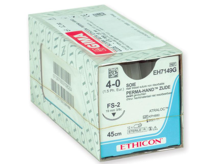 ETHICON PERMA-HAND SILK Fir de sutura - calibru 4/0 ac 19 mm - împletite