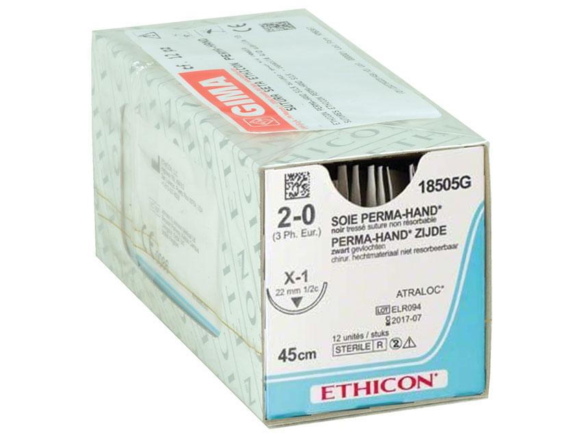 ETHICON PERMA-HAND SILK Fir de sutura - calibru 2/0 ac 22 mm - împletite