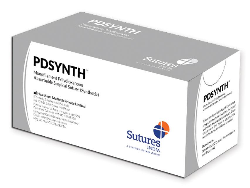 PDSYNTH- Fir de sutură absorbabil 1 cerc 1/2 ac 40mm - 90cm - violet
