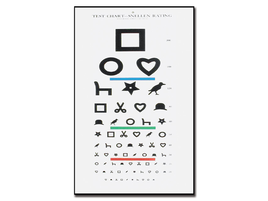 EWING analfabetă Optometric DIAGRAMA - 6 m - 28x56 cm