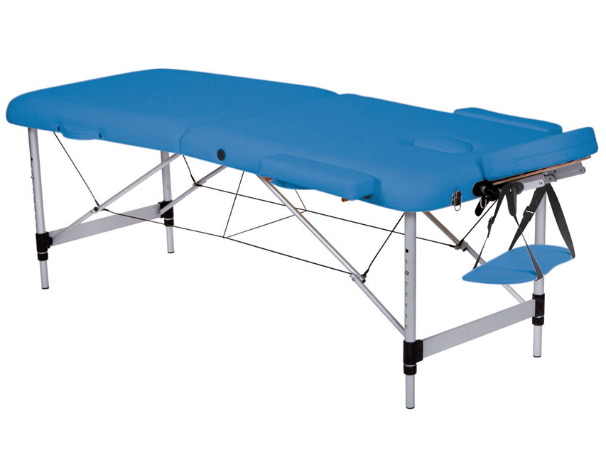 Masa de masaj cu 3 sectiuni, aluminiu - albastru