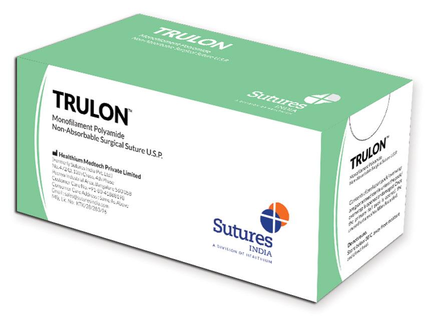 TRULON - nailon poliamidă neabsorbabil monofilament sutură 6/0 cerc 3/8 ac 12 mm - 45 cm - albastru