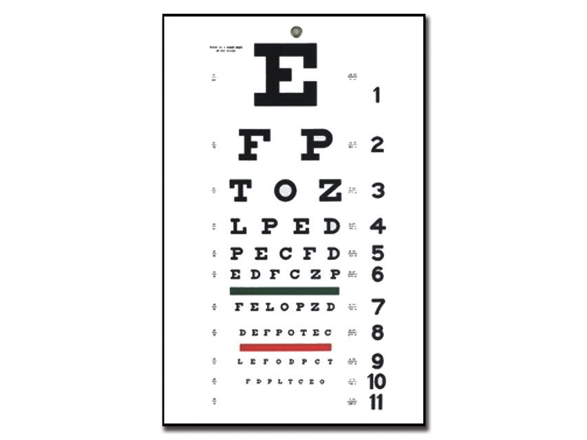 TRADIȚIONAL Snellen Optometric DIAGRAMA - 6 m - 28x56 cm