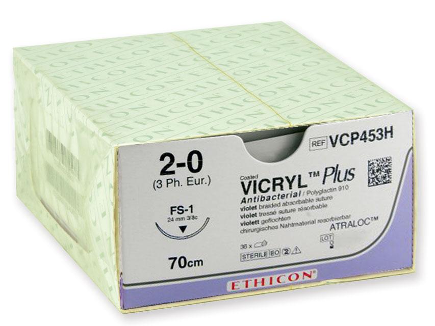 ETHICON vicryl PLUS absorbabil Fir de sutura - ecartament 2/0 ac 24 mm - împletite
