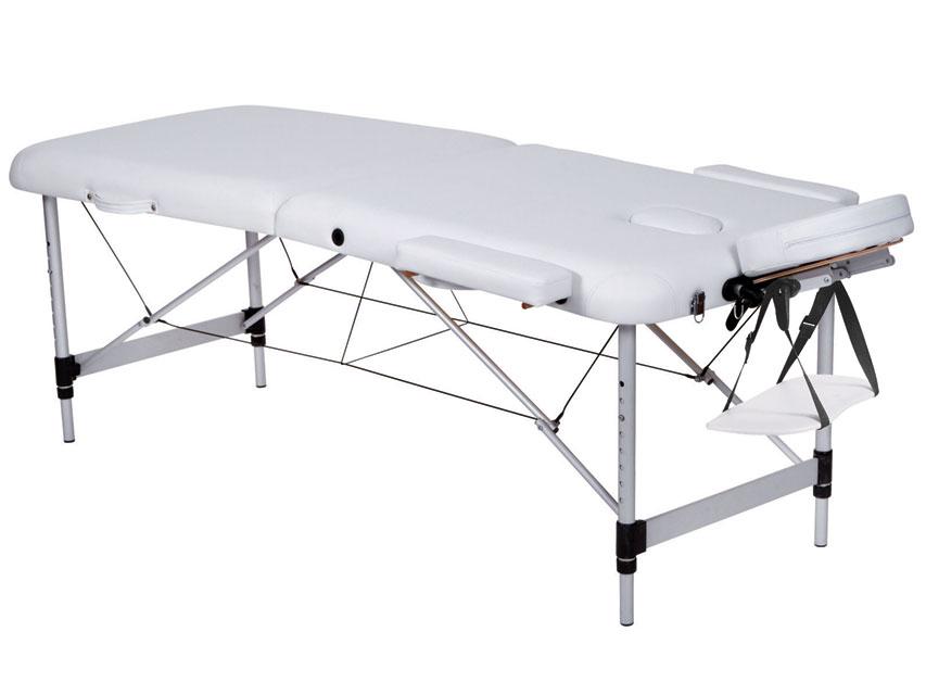Masa de masaj cu 3 sectiuni, aluminiu - alb
