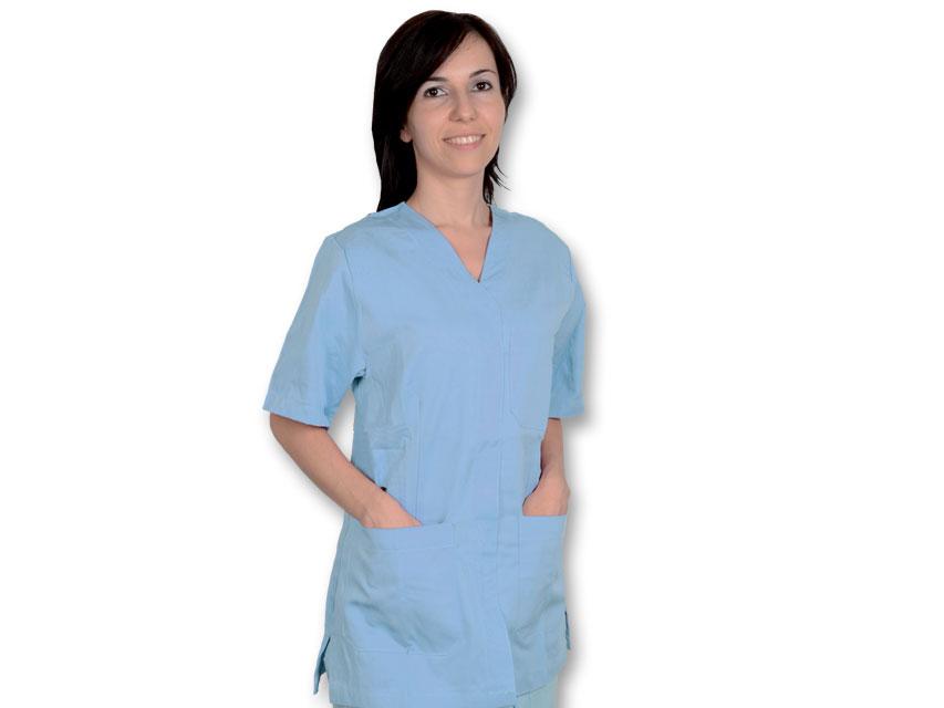 Tunica costum chirurgical - bumbac / poliester - L Unisex albastru deschis