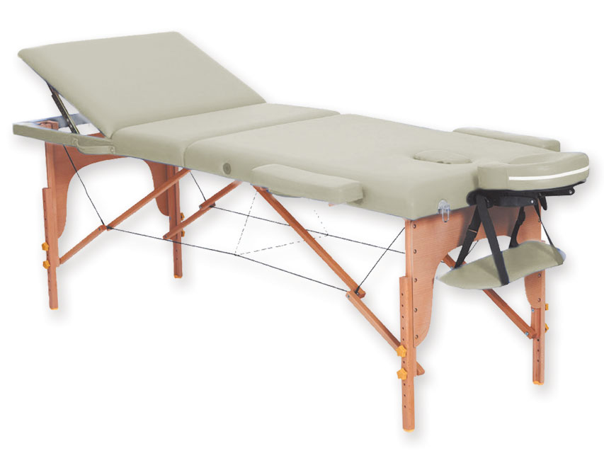 Masa de masaj cu 3 sectiuni, lemn - crema