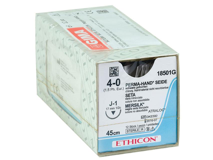 ETHICON PERMA-HAND SILK Fir de sutura - calibru 4/0 ac 17 mm - împletite