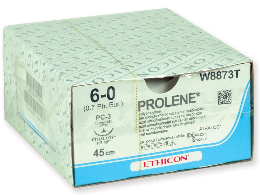 ETHICON prolenă BLUE monofilamentele Fir de sutura - ecartament 6/0 ac 16 mm