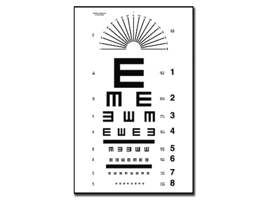 Tumbling E DIAGRAMA optometric - 6 m - 28x56 cm