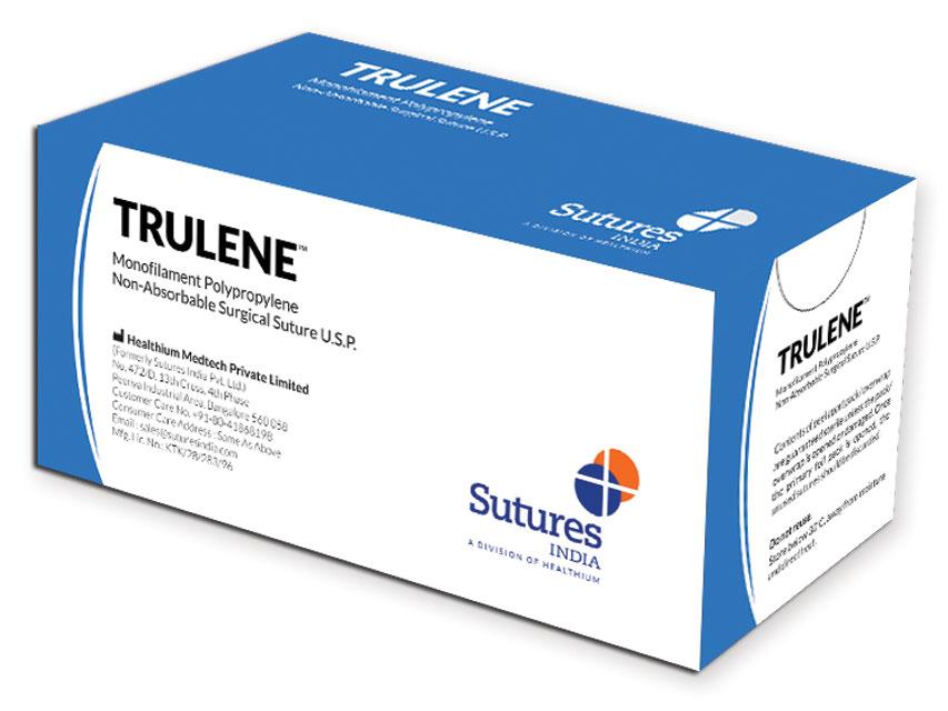 TRULENE - nailon polipropilena neabsorbabil sutură  monofilament 6/0 cerc 3/8 ac 13mm - 45cm - albastru