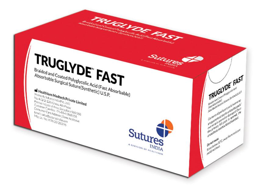 TRUGLYDE - Fir de sutură absorbabil rapid2/0 cerc 1/2 ac 35mm - 75cm - nevopsit